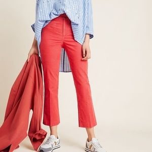 Anthropologie Women's The Essential Corduroy Cropped Flare Pants in Pink